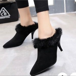 Shoes - NWOT Faux Fur Heels